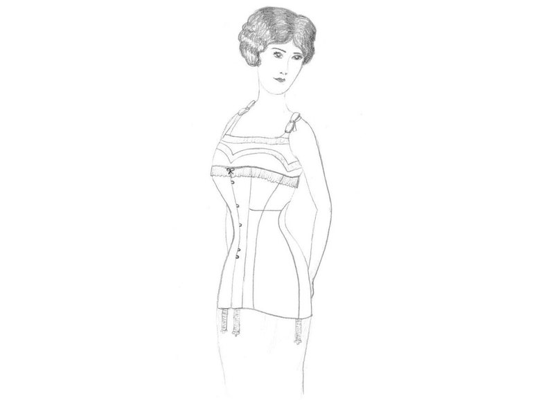 Edwardian Sewing Patterns- Dresses, Skirts, Blouses, Costumes 1910 Edwardian Longline Corset Pattern $18.48 AT vintagedancer.com