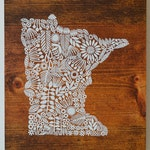 Screen print of Minnesota onto Reclaimed, Repurposed Wood; ready to hang