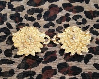 SALE - Vintage 1970s Mimi de N gold plated lion head belt buckles