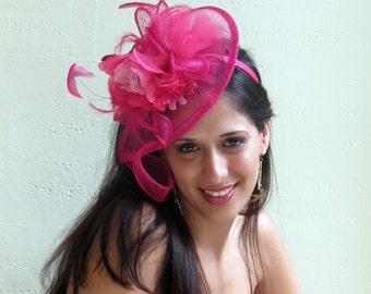 Hot pink fascinator hat  Hot Pink Wedding Hat STAVVY PEON