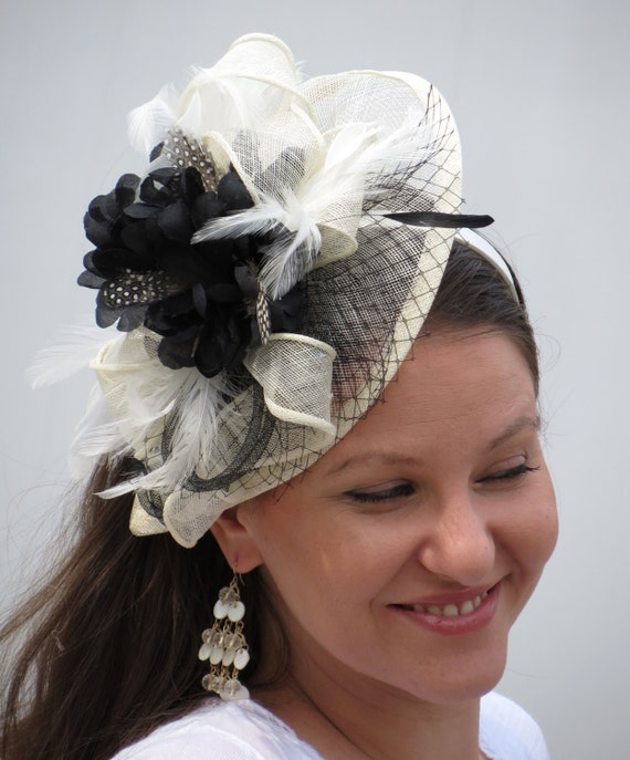 Black Flower Fascinator Hat: Items Similar To Ivory Fascinator Kentucky Derby Hat