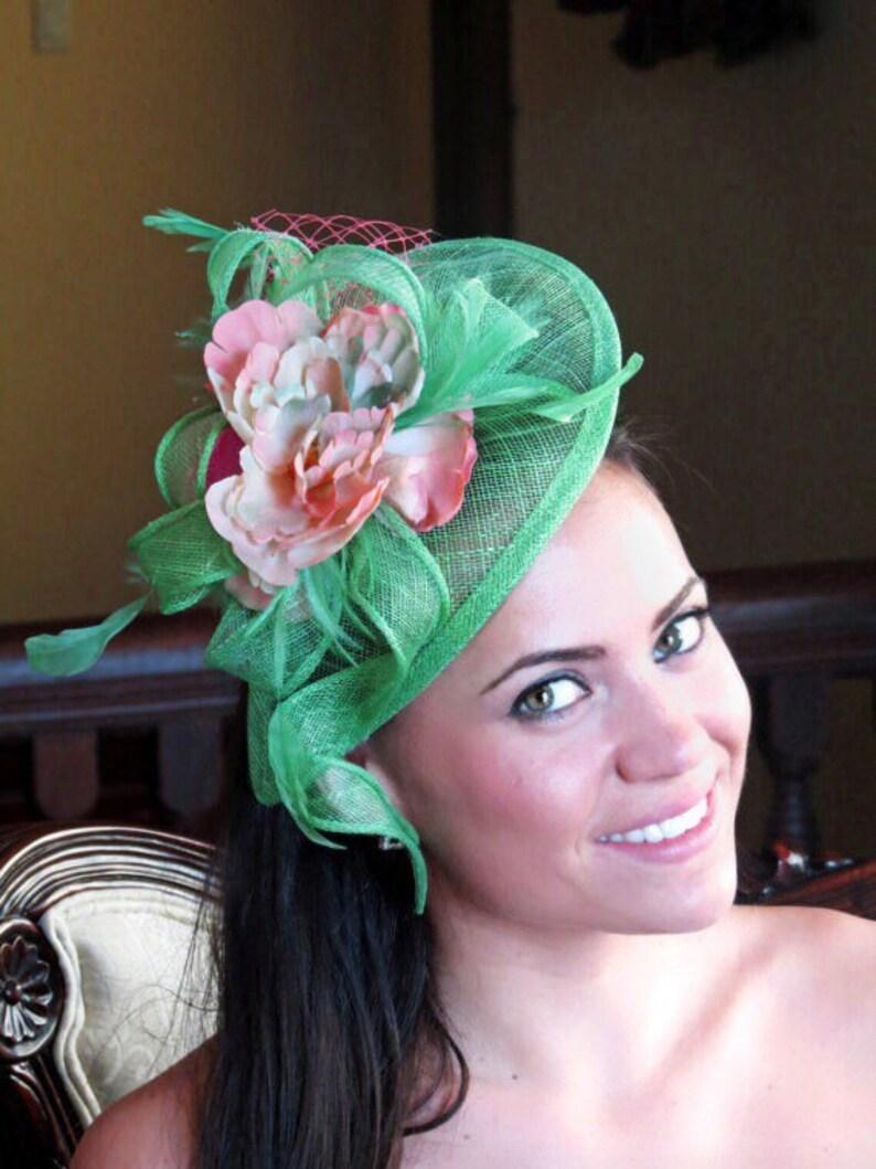 68964c17eedbf Kentucky derby fascinator hat green Fascinator Coral Flower