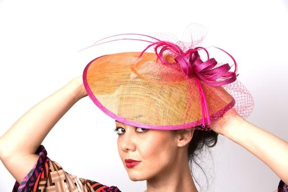 SALE Orange Coral Fascinator Kentucky Derby hat pink fuchsia  3983523c6d8