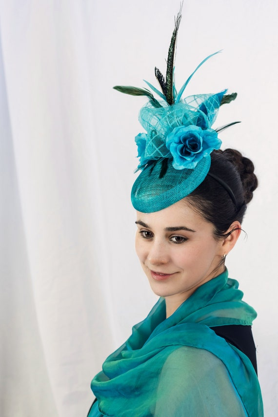 4c2dd37b6a112 Turquoise fascinator hat mesh wedding hat EXOTIC DERBY