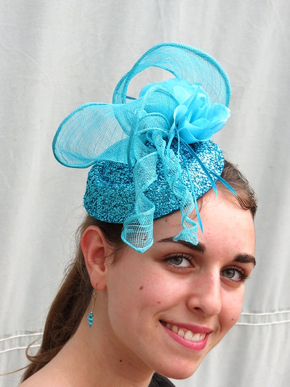 ec6a45b51ae41 Blue Fascinator Aqua Turquoise Fascinator Hat Wedding Hat