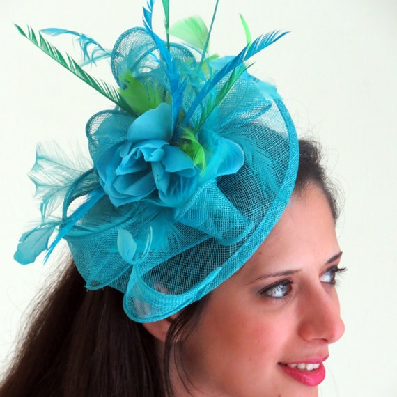 561e8eb04f55b Kentucky Derby fascinator Blue Turquoise teal Fascinator