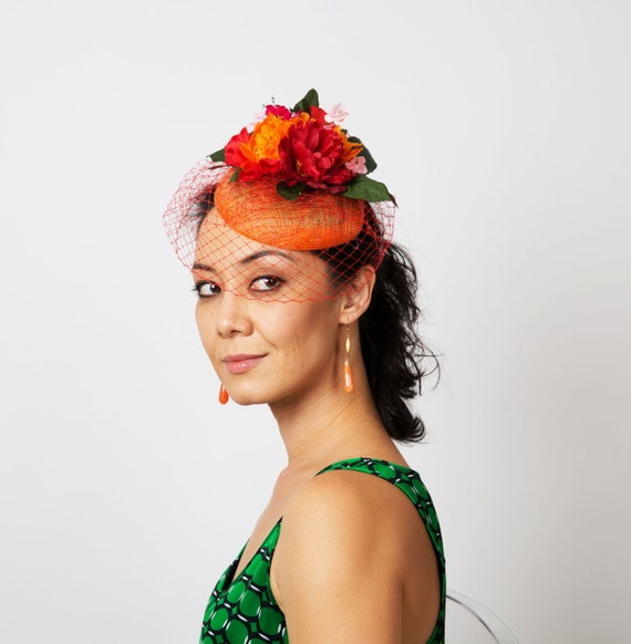 Orange red fascinator hat flower veil fascinator christmas  7513d45e56b