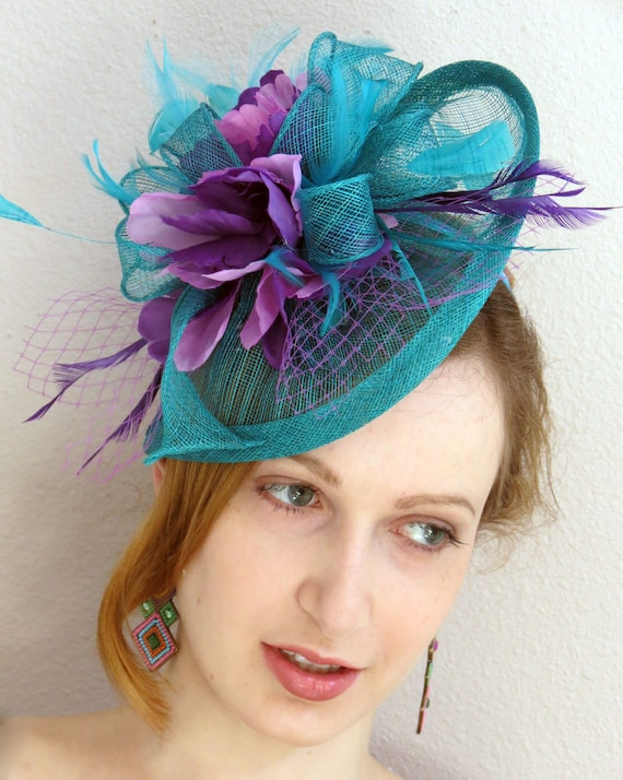 Teal Wedding Fascinator Turquoise Fascinator Wedding Hat  4f524c5ac1c