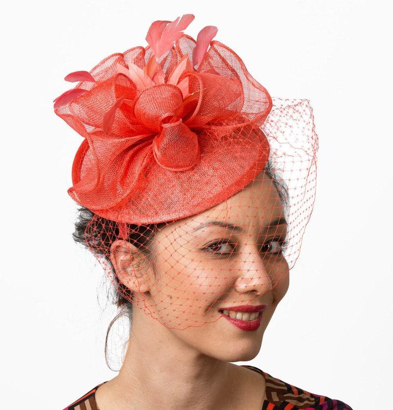 Coral Veil Fascinator hat headband Coral mesh wedding hat  37779dc169b
