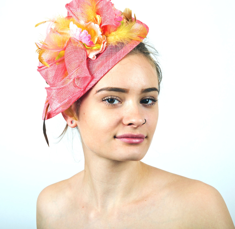 Coral Fascinator Pink Coral Fascinator Hat Pink Yellow Wedding