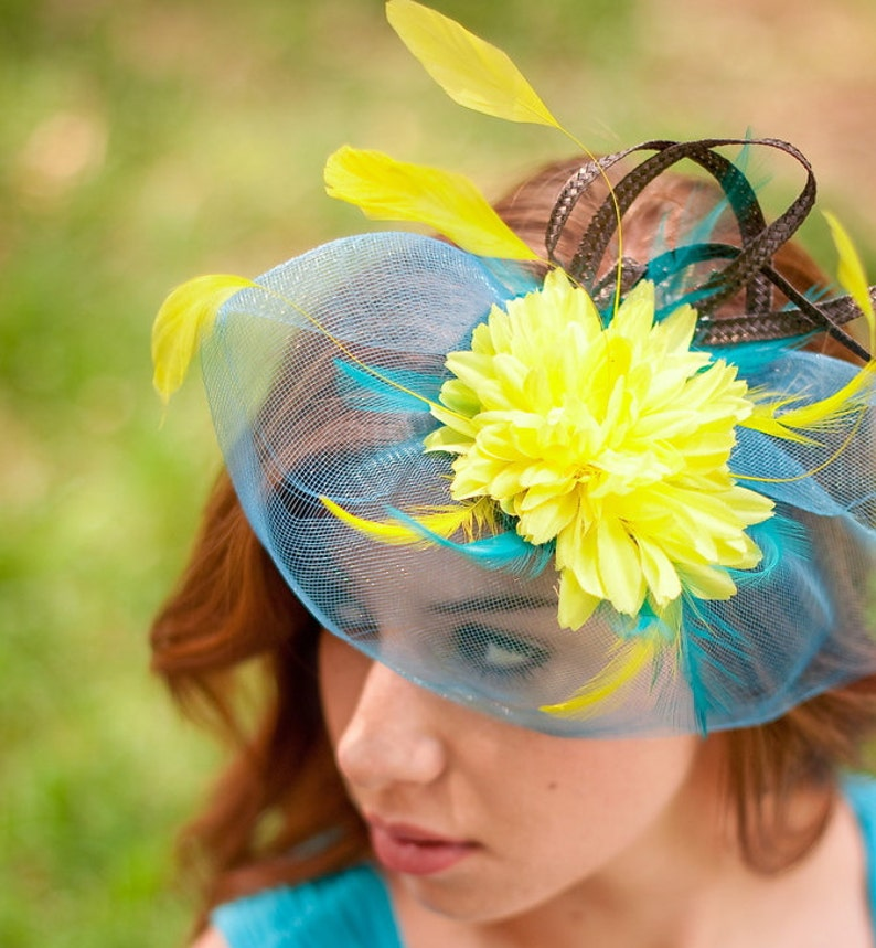 7b029269eb48f Blue Yellow Fascinator wedding hat derby fascinator hat