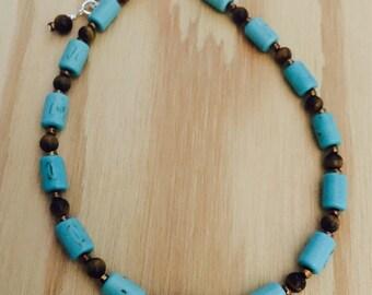 Beaded anklet, stone bead anklet, handmade beaded jewelry