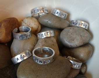 Hand Stamped Aluminum Ring // Personalized Mantra Ring // Adjustable // Hammered // Inspirational Ring // Rings with Sayings // Scripture