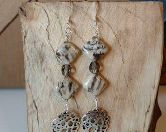 Silkworm Jasper & Silver // Beaded Silver Earrings