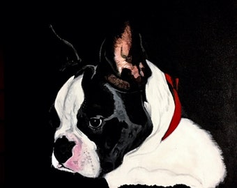Boston Terrier original acrylic painting on canvas 24 inches by 36 inches realism dog