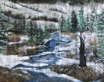 Original Suminagashi Watercolor Painting Showing a Landscape of Evergreens, Bare Trees,a Stream Tranquil & Captivating by Janet Dosenberry