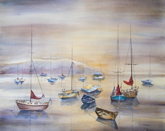 A Fine Art Watercolor Print Showing a Colorful Peaceful  Still  Province-town Twilight Scene of Boats Done For the Day Janet Dosenberry