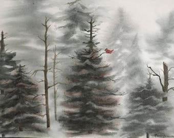 Fine Art Print Watercolor Image In Evergreen Forest Showing green & red  with Bare Trees, Snowy Landscape, Red Cardinal by Janet Dosenberry