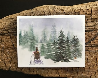 A Fine Art Watercolor Image that is a Blank Winter Holiday Card or a Christmas Card Showing Heavy Snow on Pine & Bare Trees Janet Dosenberry