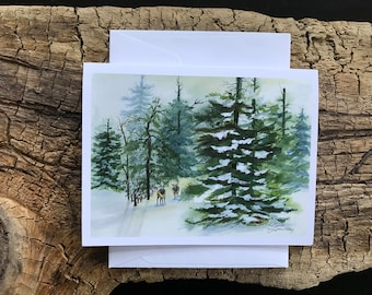 A Fine Art Watercolor Image that is Blank Winter Holiday Card or a Christmas Card Showing Heavy Snow On Pine & Bare Trees Janet Dosenberry