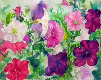 """Petunias, Colorful, Floral, Flowers, Summer, Pinks, Purples, Nature,  High-Quality Watercolor Giclee Print 14 3/4""""x 20""""by Janet Dosenberry"""