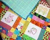 Baby Girl Quilt, Quilted Baby Blanket, My Baby's Garden Quilt, Baby Shower Gift, Embroidered Nursery Quilt, Quiltsy Handmade Patchwork Quilt