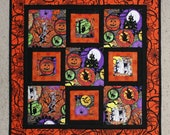 Quilted Halloween Wall Hanging, Hallowgraphix Halloween Wall Art Quilt,  Quiltsy Handmade Patchwork Quilt, Orange and Black Wall Quilt