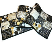Black and White Quilted New Years Eve Party Table Runner, Quilted Reversible Celebration Wedding Table Decor, Quiltsy Handmade Patchwork