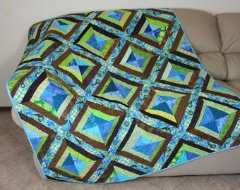 Blue and Brown Quilted Throw, Crazy Strings Patchwork Lap Quilt, Large Scrap Quilt, Quiltsy Handmade Patchwork