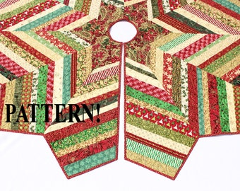 Quilted Christmas Tree Skirt PATTERN - Country Strings Tree Skirt, Foundation Pieced Quilt Pattern, Scrappy Stash Buster Quilt