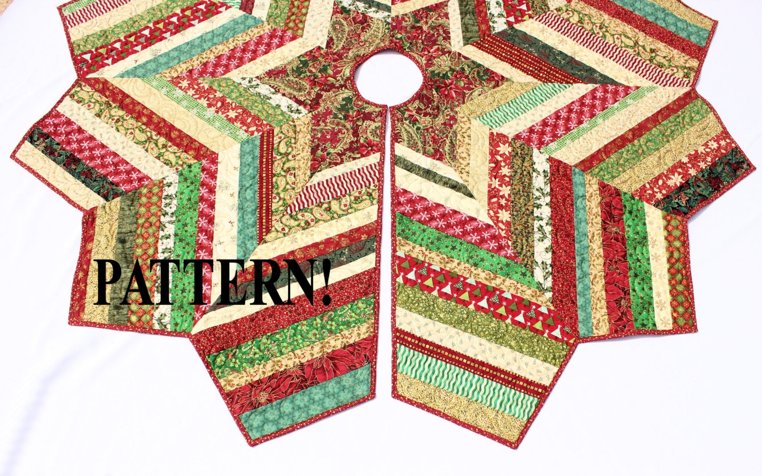 Quilted Christmas Tree Skirt PATTERN Country Strings Tree ...