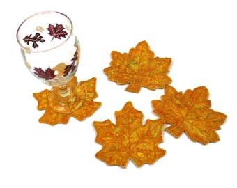 """Four """"Spanish Gold"""" Autumn Leaves BATIK Coasters, Machine Embroidered Fall Leaf Coasters, Golden Thanksgiving Decor, Fall Wedding Table,"""