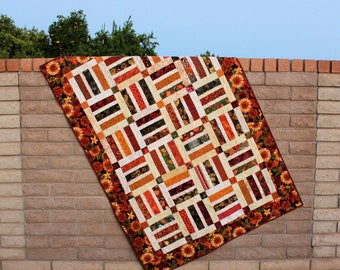 Autumn Leaves Lap Quilt or Sofa Throw in Scrappy Brown, Rust and Green, Sunflowers Quilted Throw for Fall, Handmade Patchwork Blanket