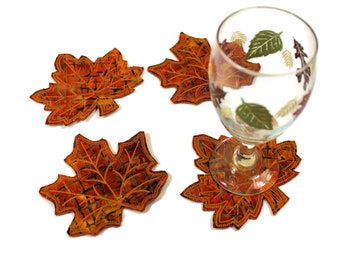 """Set of 4 Fall Leaf Coasters, """"Cinnamon"""" Batik and Wool Felt Leaves, Rusty Brown Quilted Maple Leaf Autumn Decor, Thanksgiving Hostess Gift"""
