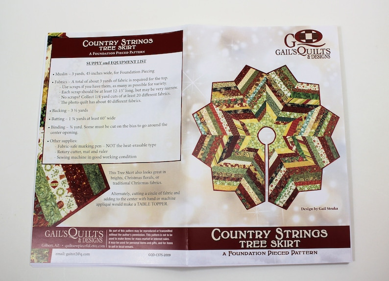 Quilted Christmas Tree Skirt PATTERN - Country Strings Tree Skirt,  Foundation Pieced Christmas Quilt Pattern,