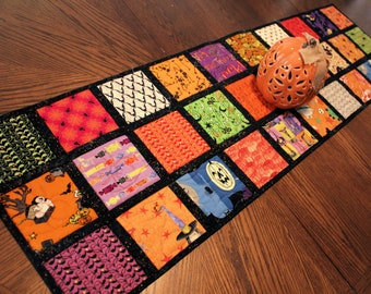 Fun Halloween Quilted Table Runner, Black and Orange Handmade Patchwork Quilt with Bats, Spiders and more