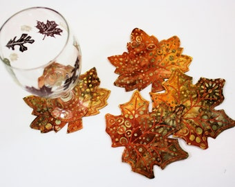 Fawn Maple Leaf Batik and Wool Coasters, Set of Four Quilted Autumn Leaves, Wool Felt Backs, Fall Thanksgiving Decor, Hostess Gift