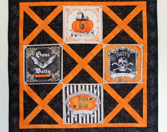 Quilted Halloween Wall Hanging, Gone Batty Wall Art Quilt,  Quiltsy Handmade Patchwork Panel Quilt in Orange and Black