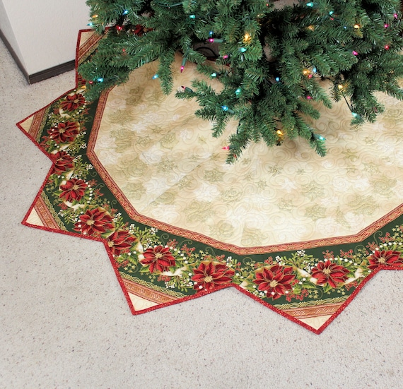 Elegant Christmas Tree Skirts.Large Christmas Tree Skirt Quilt Red Poinsettias Elegant 65 Inch Holiday Quilted Tree Skirt Holiday Flourish Fabric By Peggy Toole