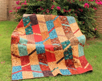 Western Lap Quilt or Sofa Throw, Southwest Blue Tan and Brown Quilted Throw, Handmade Patchwork Cowboy Quilt
