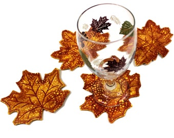 """Four Fall Leaf Coasters, """" Butterscotch"""" Batik and Wool Felt Leaves, Golden Brown Quilted Maple Leaf, Thanksgiving Hostess Gift"""