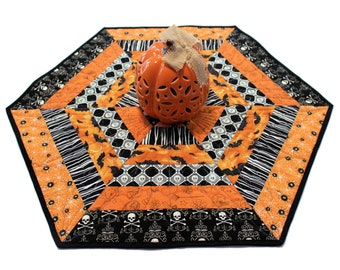 Hexagon Halloween Quilted Table Runner, Candle Mat with Bats, Skulls that GLOW in the DARK, and spiders,  Handmade Patchwork Quilt