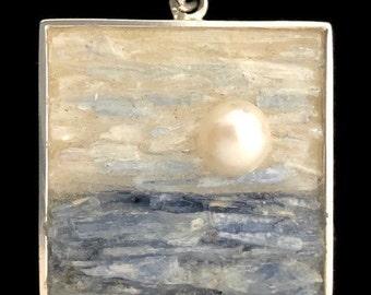 Pearl, Kyanite and Selenite Necklace - Mosaic Landscape Pendant