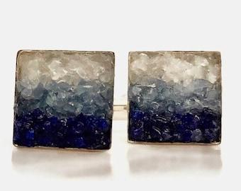 Mosaic Cuff Links -  Custom Lapis, Kyanite and Onyx Cuff Links