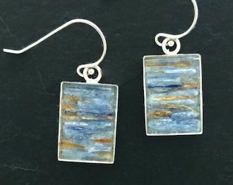Mosaic Earrings - Blue and Orange Kyanite