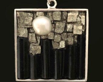Mosaic Pendant - Pearl, Pyrite and Tourmaline