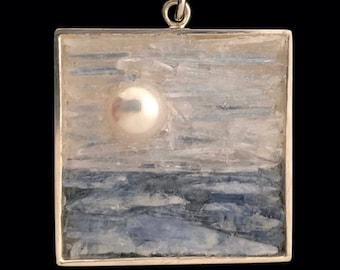 Pearl, Kyanite and Selenite Pendant - Landscape Mosaic Jewelry