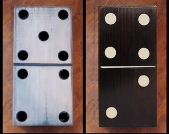 "1 pc. Black Wood Domino - 5 1/4"" x 10 1/4"""