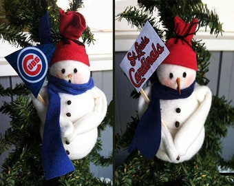 Cardinal or Cub Snowman Ornaments