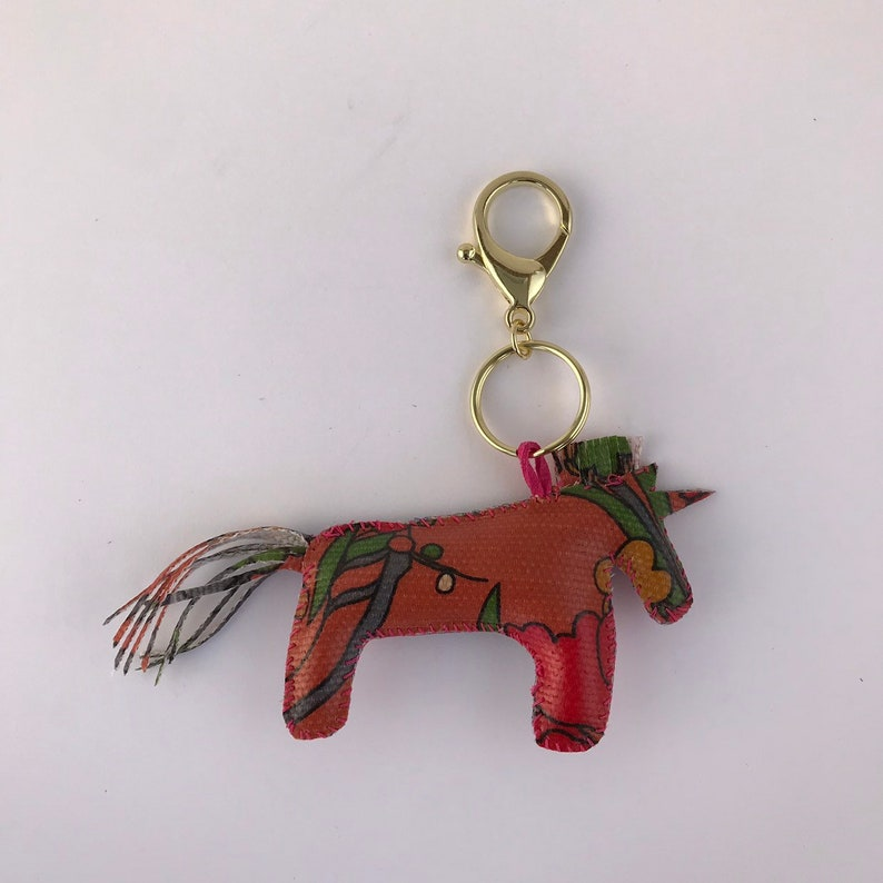 5518b01230a914 Vegan FLORICORN unicorn bag charm keyring repurposed Sakroots | Etsy